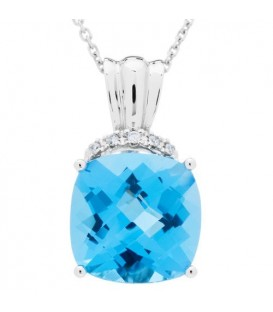 More about 6.18 Carat Cushion Cut Blue Topaz and Diamond Diamond Necklace 14Kt White Gold