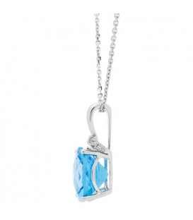 6.18 Carat Cushion Cut Blue Topaz and Diamond Diamond Necklace 14Kt White Gold