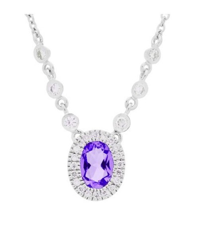 Necklaces - 0.64 Carat Round Cut Amethyst and Diamond Necklace in 14Kt White Gold
