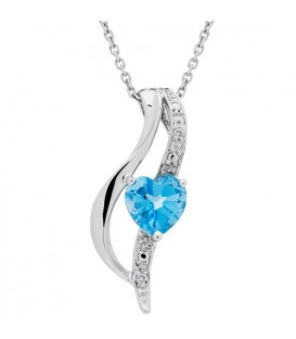 More about 1.00 Carat Cushion Cut Blue Topaz and Diamond Diamond Necklace 14Kt Karat White Gold