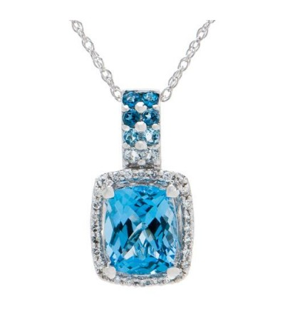 Necklaces - 3.94 Carat Blue Topaz and Diamond Pendant in 14Kt White Gold