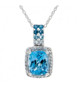 More about 3.94 Carat Blue Topaz and Diamond Pendant in 14Kt White Gold