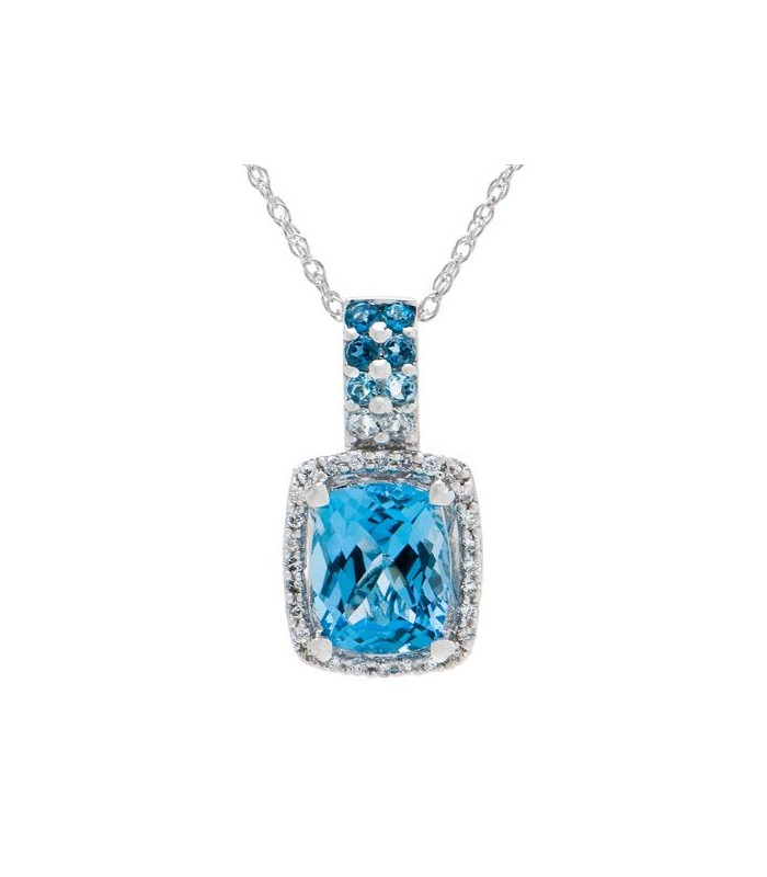 Blue Topaz And Diamond Pendant In 14kt White I Amoro