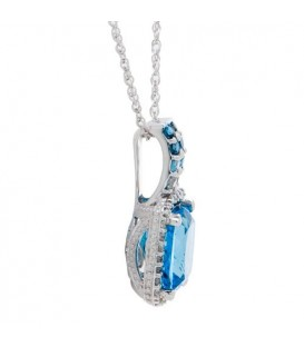3.94 Carat Blue Topaz and Diamond Pendant in 14Kt White Gold