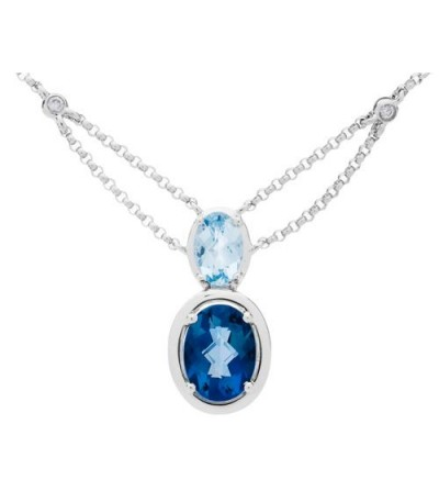 Necklaces - 1.56 Carat Oval Cut Blue Topaz and Diamond Necklace in 14Kt White Gold