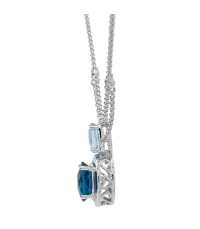 2.50 Carat Oval Cut Blue Topaz and Diamond Necklace in 14Kt White Gold