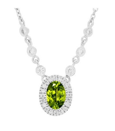 Necklaces - 0.98 Carat Peridot and Diamond Necklace in 14Kt White Gold