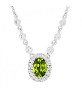 More about 1.04 Carat Peridot and Diamond Necklace in 14Kt White Gold