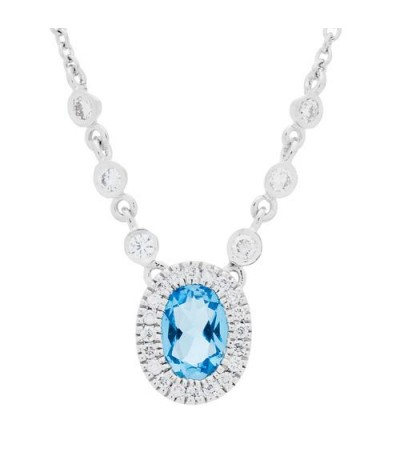 Necklaces - 0.64 Carat Oval Cut Blue Topaz and Diamond Necklace in 14Kt White Gold