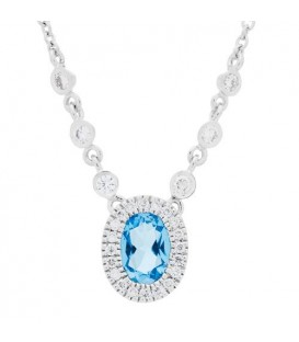 More about 0.92 Carat Oval Cut Blue Topaz and Diamond Necklace in 14Kt White Gold
