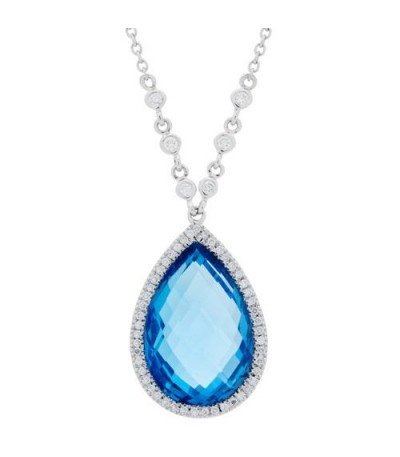 Necklaces - 12.99 Carat Oval Cut Blue Topaz and Diamond Necklace in 14Kt White Gold