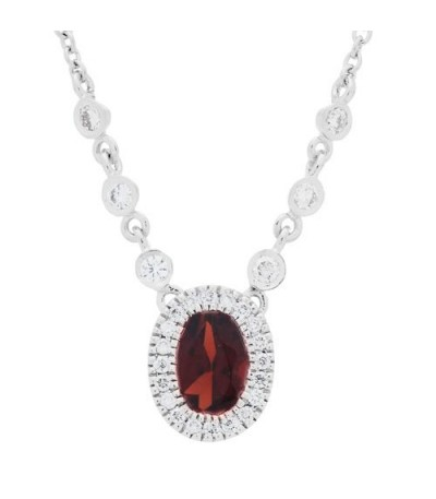 Necklaces - 1.25 Carat Garnet and Diamond Necklace in 14 Karat White Gold