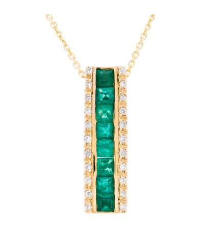 Necklaces - 0.86 Carat Square Cut Emerald and Diamond Diamond Necklace 14Kt White Gold