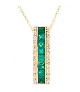 More about 0.99 Carat Square Cut Emerald and Diamond Diamond Necklace 14Kt White Gold