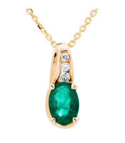 Necklaces - 0.79 Carat Oval Cut Emerald and Diamond Necklace in 14Kt Yellow Gold