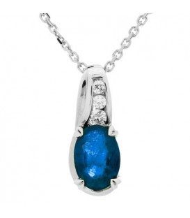 More about 1.12 Carat Oval Cut Sapphire and Diamond Necklace in 14Kt White Gold