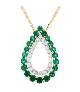 Necklaces - 0.89 Carat Round Cut Emerald and Diamond Diamond Necklace 14Kt Two Tone Gold