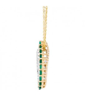 1.14 Carat Round Cut Emerald and Diamond Diamond Necklace 14Kt Two Tone Gold