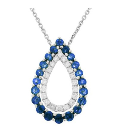 Necklaces - 1.00 Carat Roud Cut Sapphire and Diamond Necklace in 14Kt White Gold