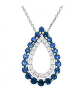 More about 1.25 Carat Round Cut Sapphire and Diamond Necklace in 14Kt White Gold