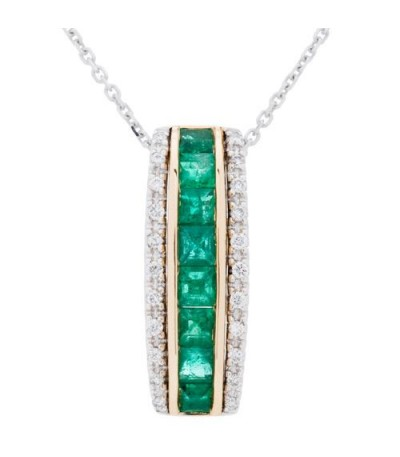 Necklaces - 0.96 Carat Square Cut Emerald and Diamond Necklace in 14Kt Two Tone Gold