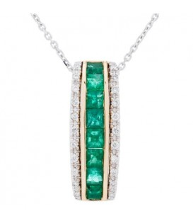 More about 1.09 Carat Square Cut Emerald and Diamond Necklace in 14Kt Two Tone Gold