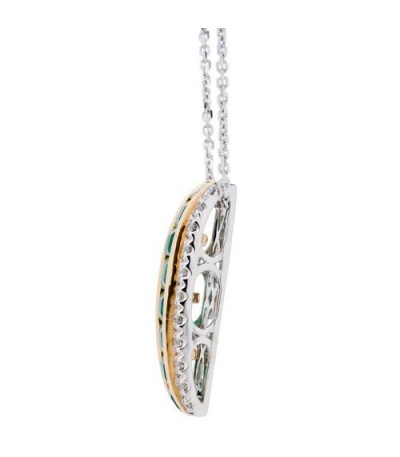 1.09 Carat Square Cut Emerald and Diamond Necklace in 14Kt Two Tone Gold