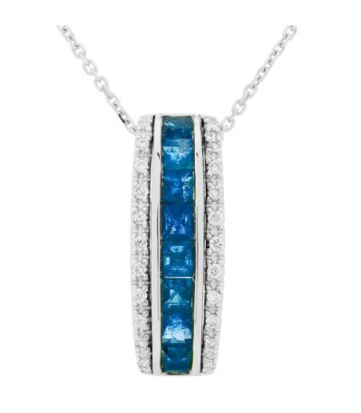 Necklaces - 1.43 Carat Square Cut Sapphire and Diamond Necklace in 14Kt White Gold
