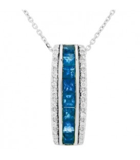 More about 1.55 Carat Square Cut Sapphire and Diamond Necklace in 14Kt White Gold