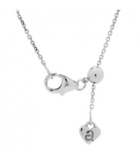 Adjustable 18Kt White Gold Rolo Chain Necklace
