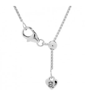 Necklaces - Adjustable 18Kt White Gold Wheat Chain Necklace