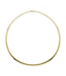 "14Kt and Sterling Silver Reversible Omega Necklace 18"", Width 4 mm"