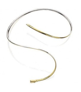 "14Kt and Sterling Silver Reversible Omega Necklace 18"", Width 6 mm"