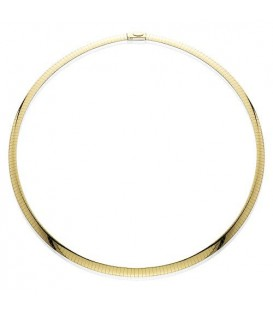 "14Kt and Sterling Silver Reversible Omega Necklace 20"", Width 6 mm"