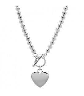 Necklaces - Polished Italian Bead Necklace 925 Sterling Silver