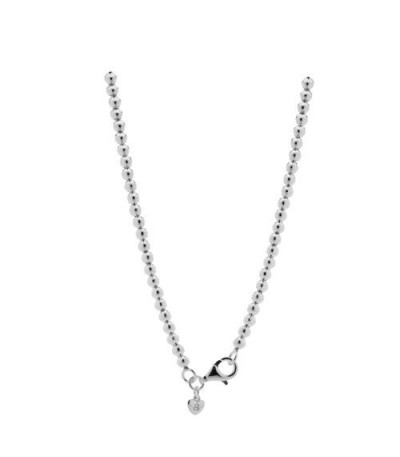 Necklaces - Polished Italian Small Bead Necklace 925 Sterling Silver