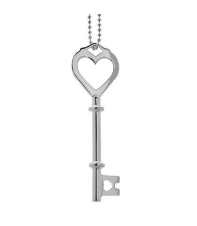 Necklaces - Italian Bead and Heart Key Necklace 925 Sterling Silver