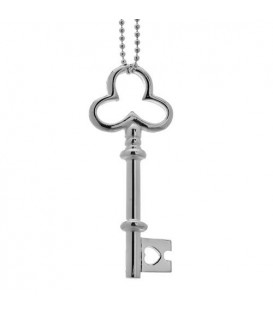 Necklaces - Italian Bead and Clover Key Necklace 925 Sterling Silver