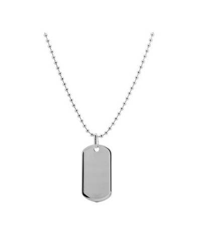 Necklaces - Italian Bead and Tag Pendant Necklace 925 Sterling Silver