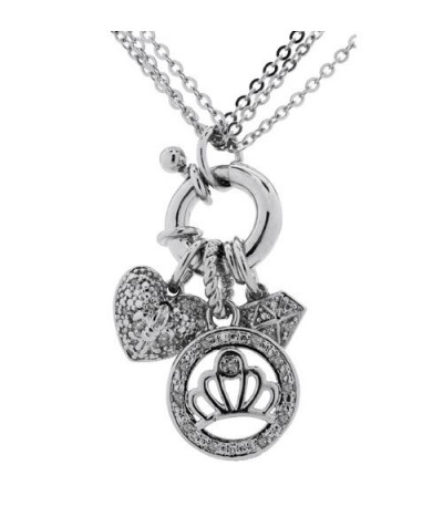 Necklaces - Diamond Charm Necklace 925 Sterling Silver