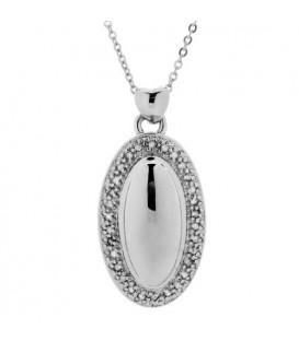 Necklaces - Diamond Oval Pendant 925 Sterling Silver