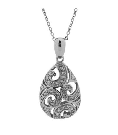 Necklaces - Diamond Filigree Pendant 925 Sterling Silver