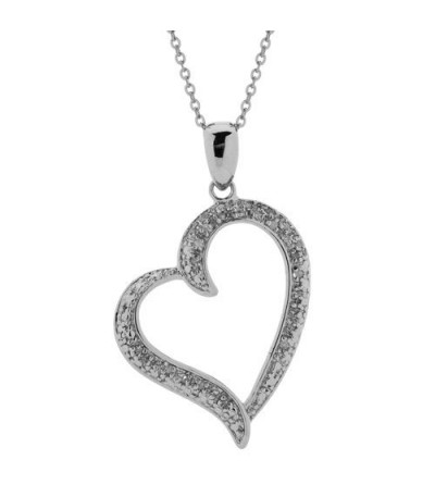 Necklaces - Diamond Open Heart Pendant 925 Sterling Silver