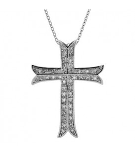 Necklaces - Diamond Cross Pendant in 925 Sterling Silver
