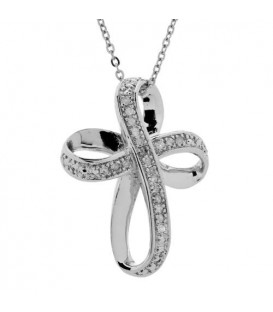 Diamond Cross Pendant in 925 Sterling Silver