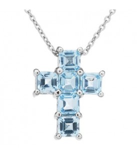 Necklaces - Blue Topaz Cross Necklace 925 Sterling Silver