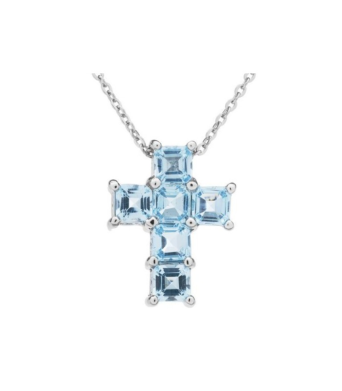 Square Cut 30ct Blue Topaz Necklace 925 Sterling Silver I