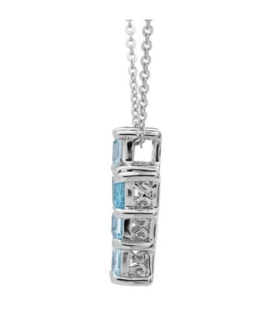 Blue Topaz Cross Necklace 925 Sterling Silver