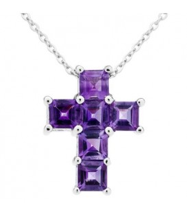 Necklaces - Amethyst Cross Pendant 925 Sterling Silver