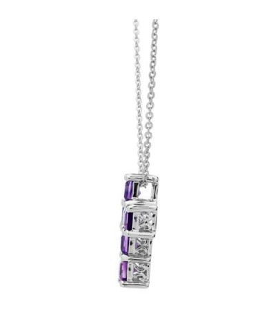 Amethyst Cross Pendant 925 Sterling Silver